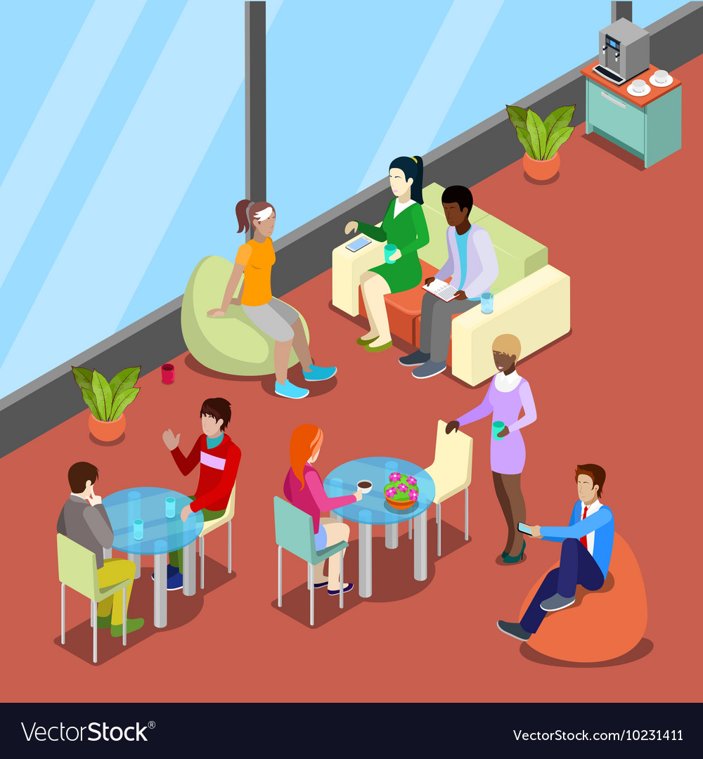 Isometric interior office canteen with people vector