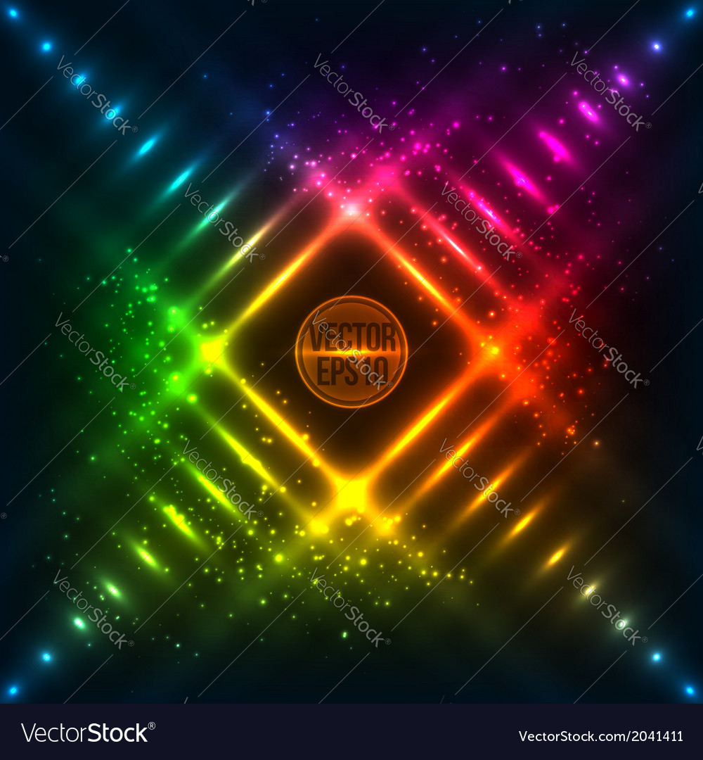 Rainbow neon grid background vector