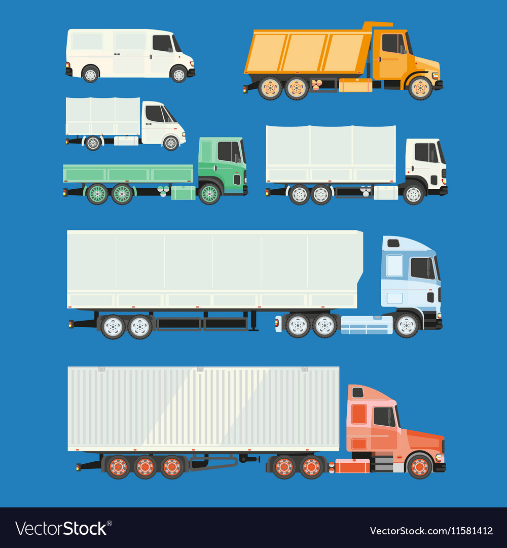 Trucks and trailers on a white background vector