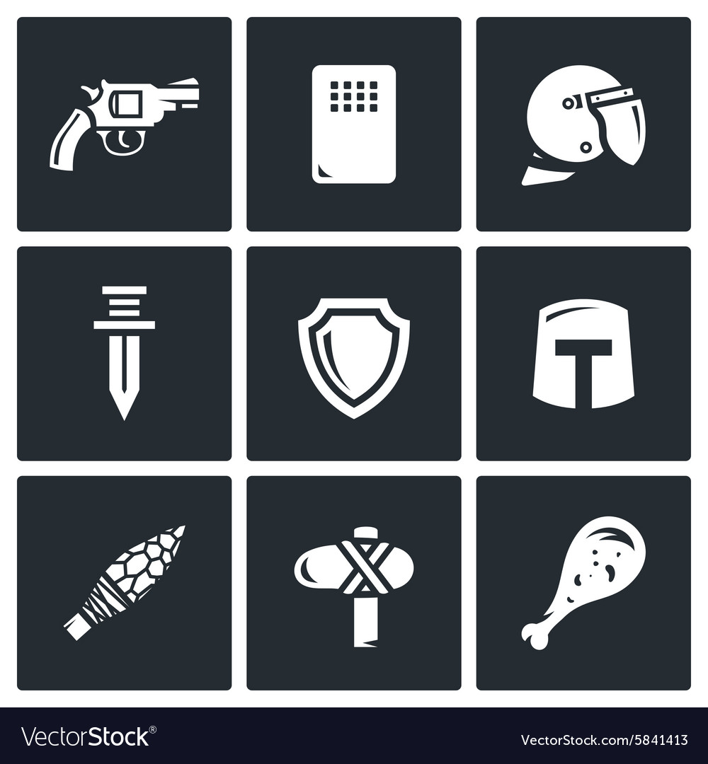 Evolution of weapons icons set vector
