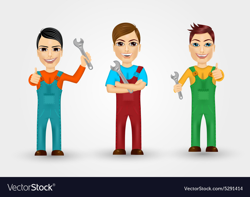 Set of friendly young plumbers vector