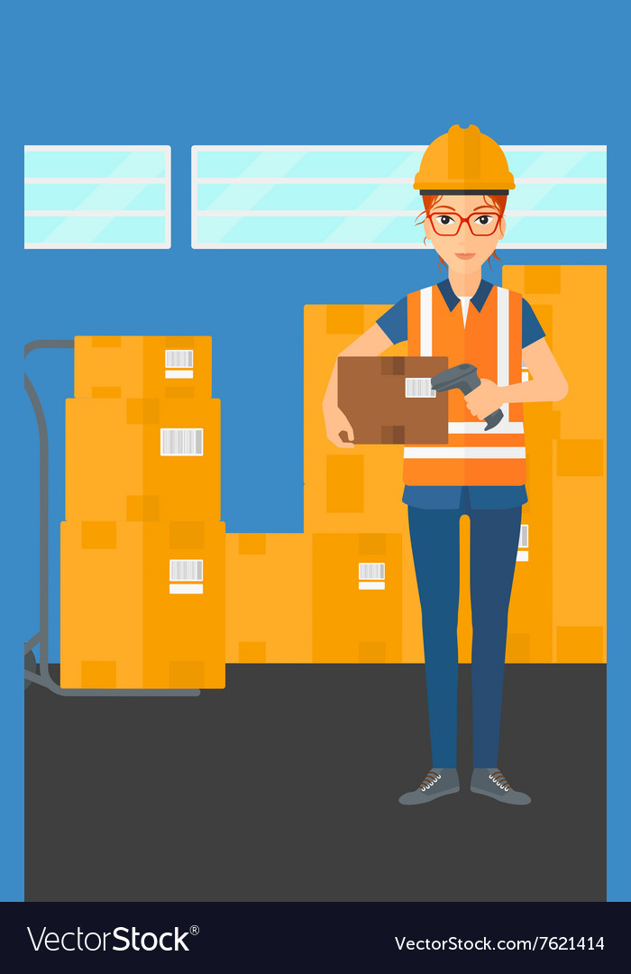 Worker checking barcode on box vector