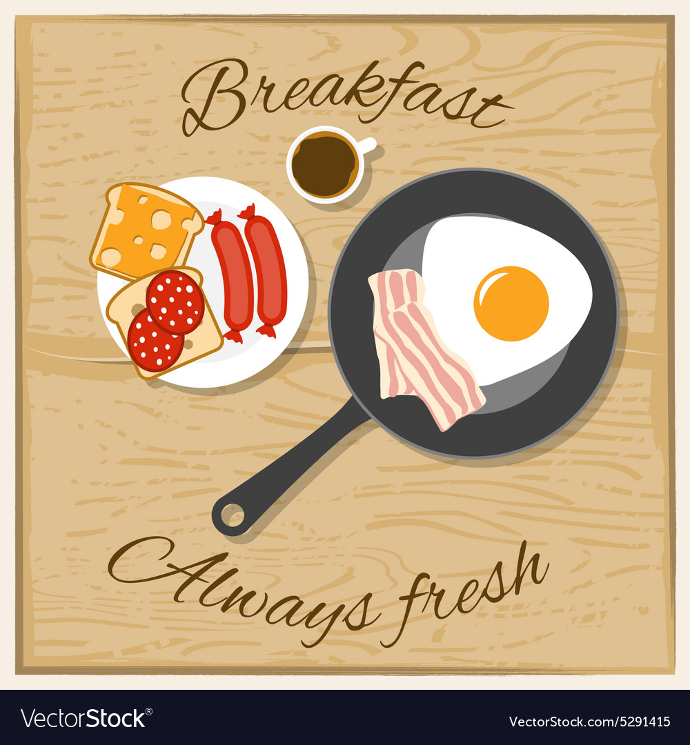 Breakfast color flat concept vector