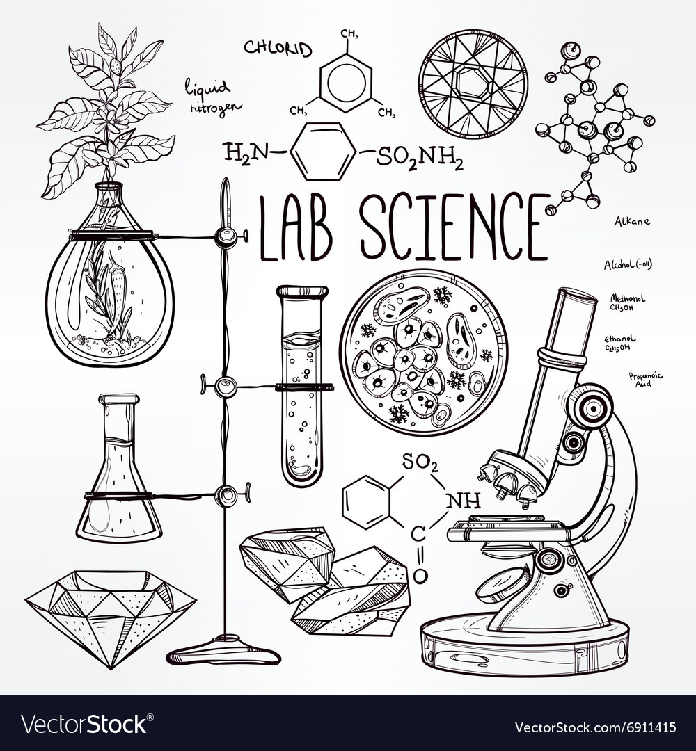 Hand drawn science lab icons sketch set vector