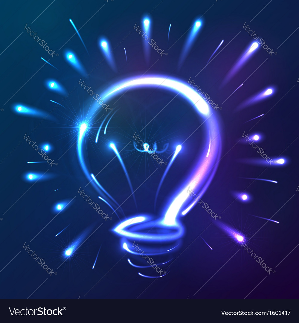 Bright blue neon lights abstract bulb vector