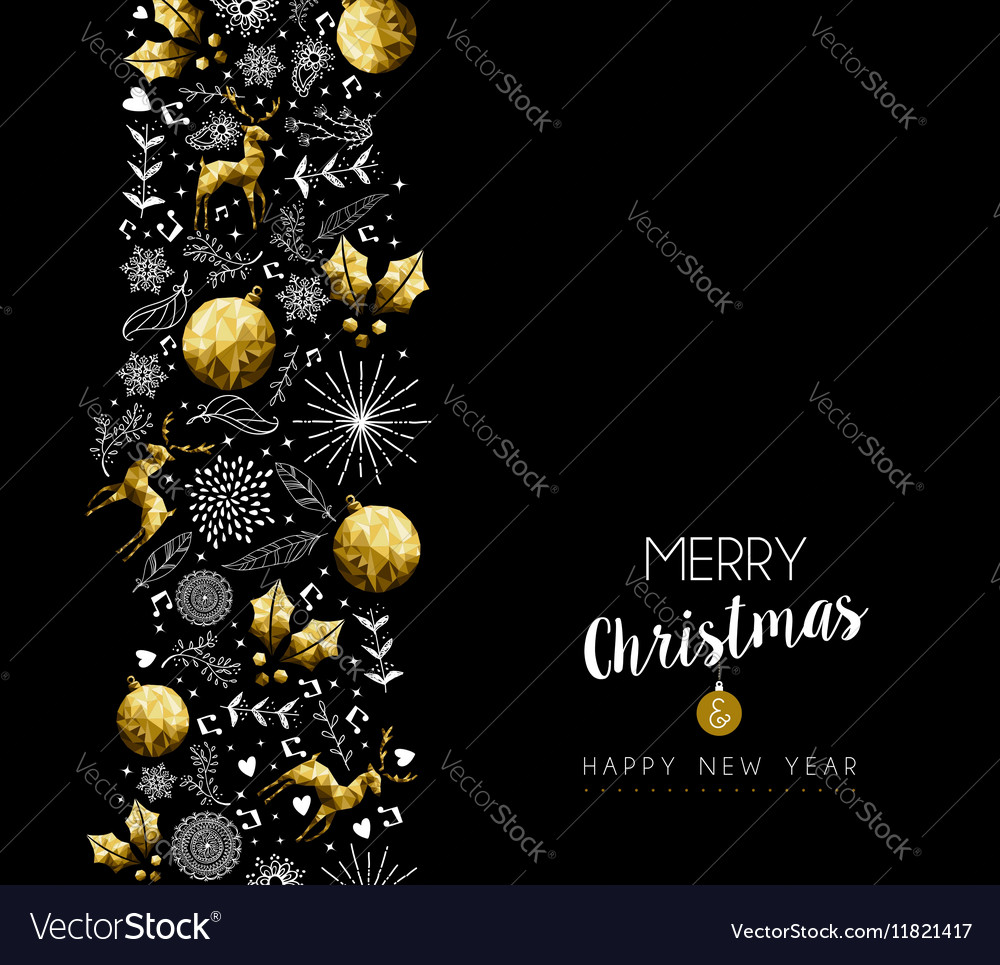 Christmas and new year gold pattern decoration vector