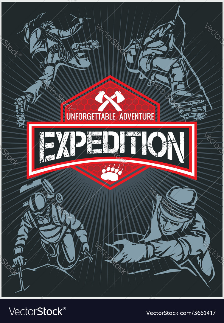 Rock climbing expedition set  expeditions emblem vector