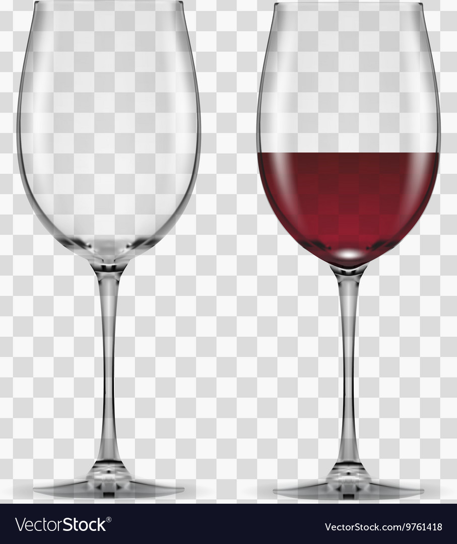 Big reds wine glass empty and none vector