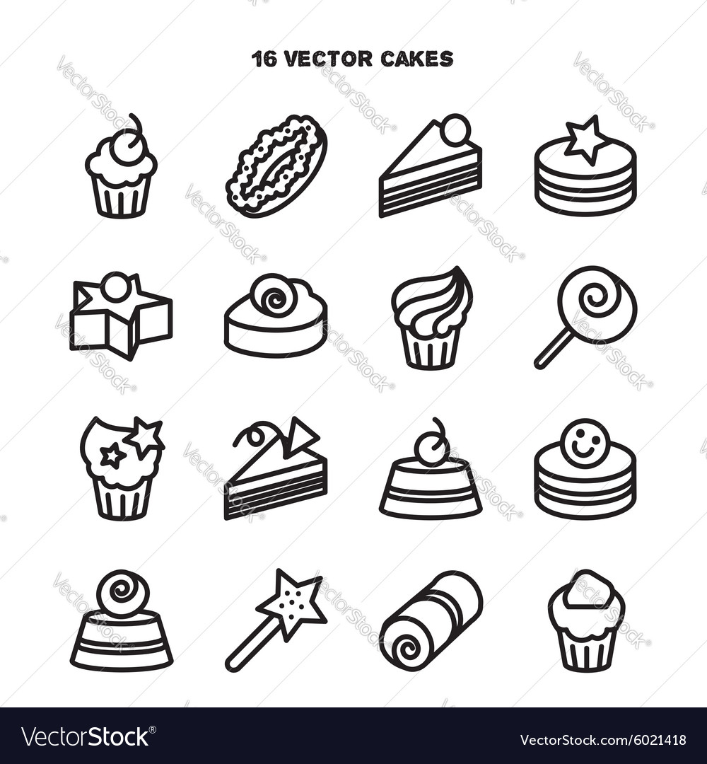 Collection of bakery and cake icons candy sweet vector