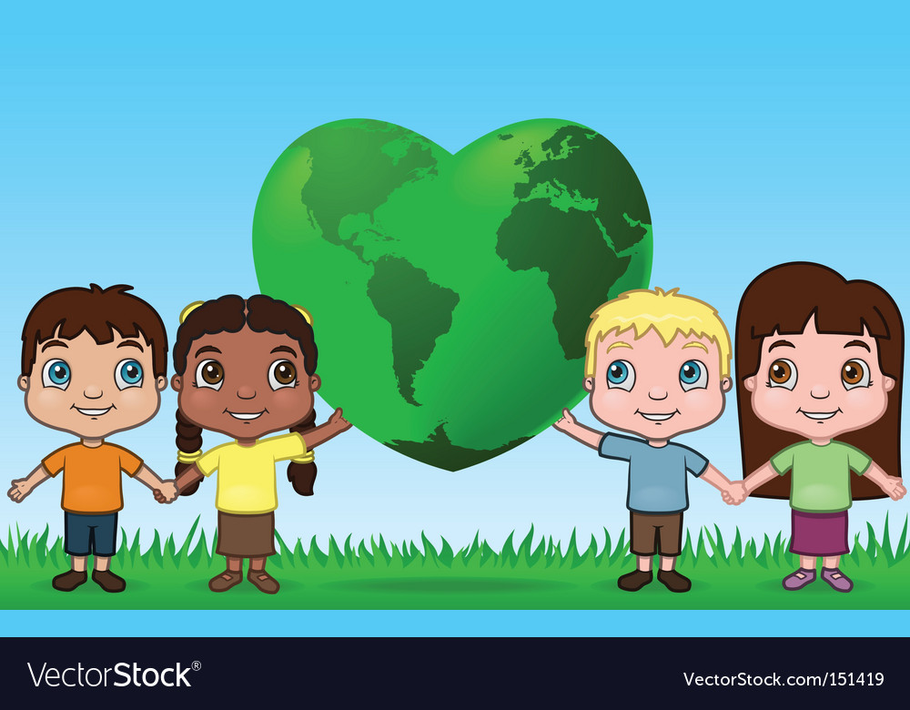 Kids holding up the world vector