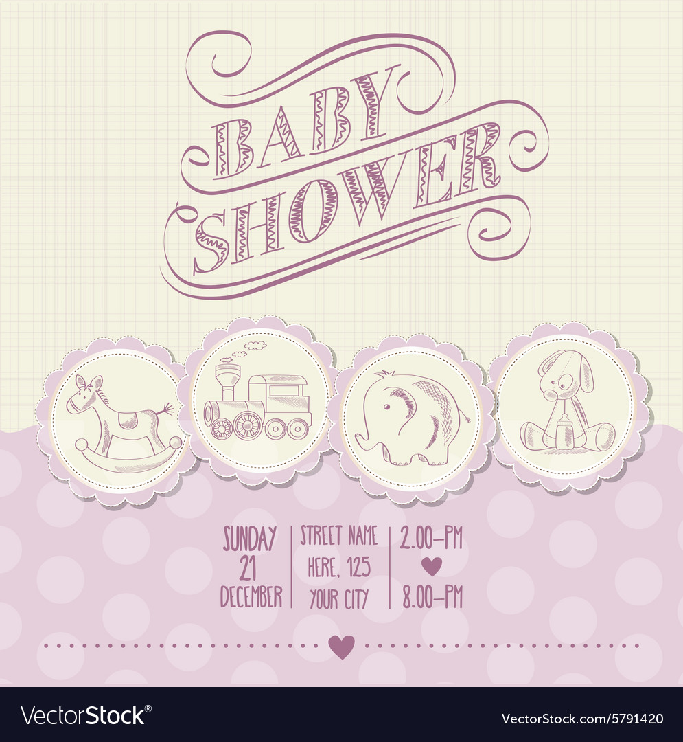 Baby girl shower card with retro toys vector