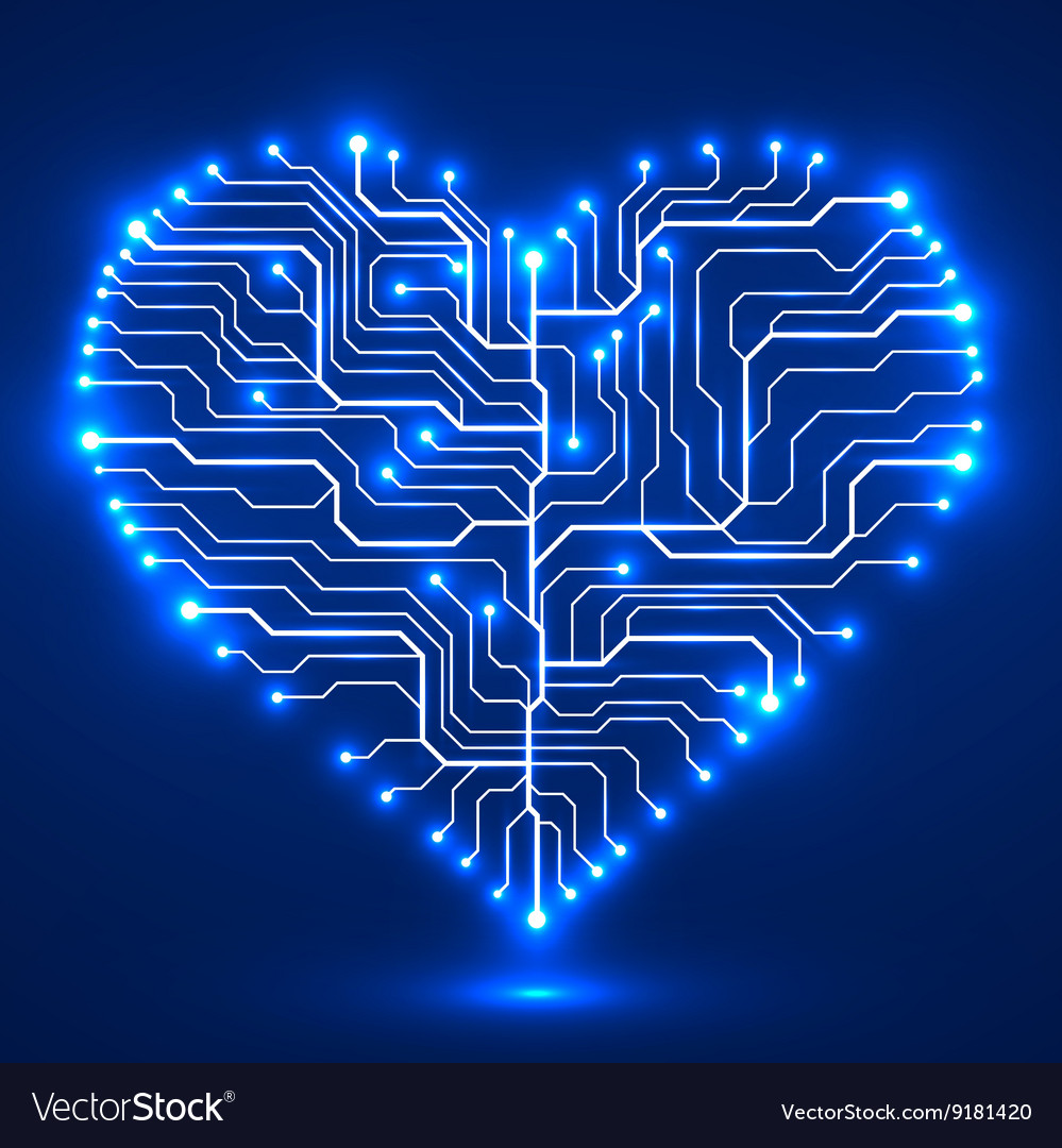 Circuit board in the shape of the heart vector