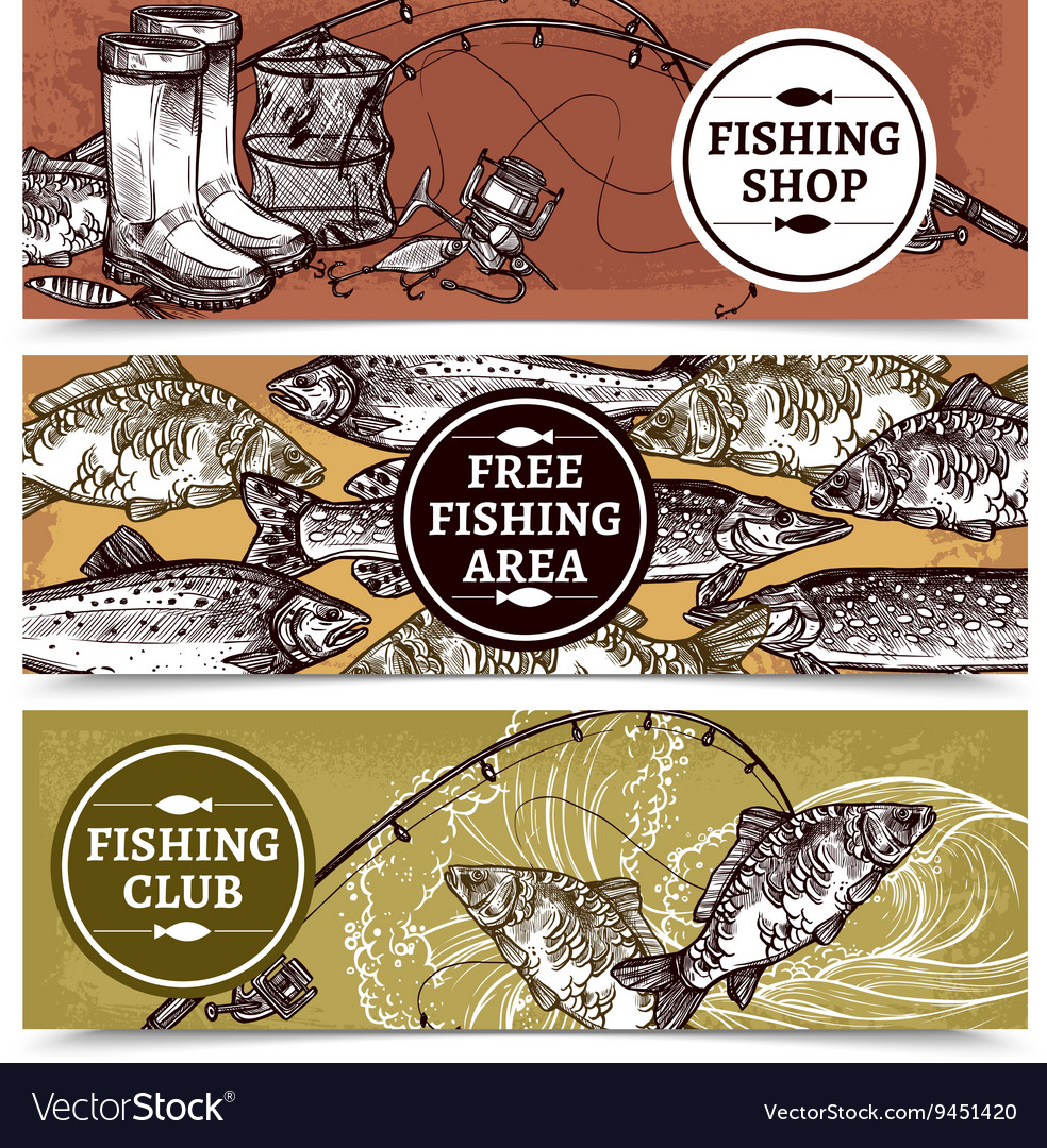 Fishing horizontal banners vector