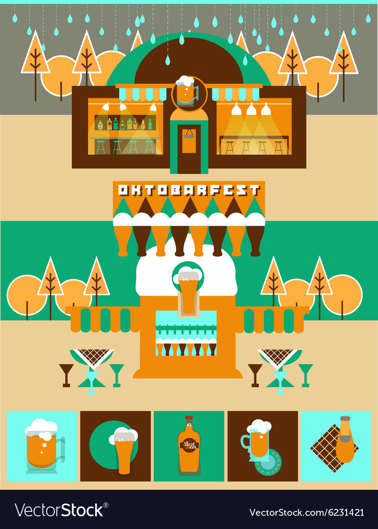 Pub and bar set with beer icons and label vector