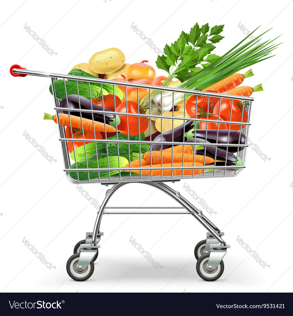 Supermarket trolley with vegetables vector