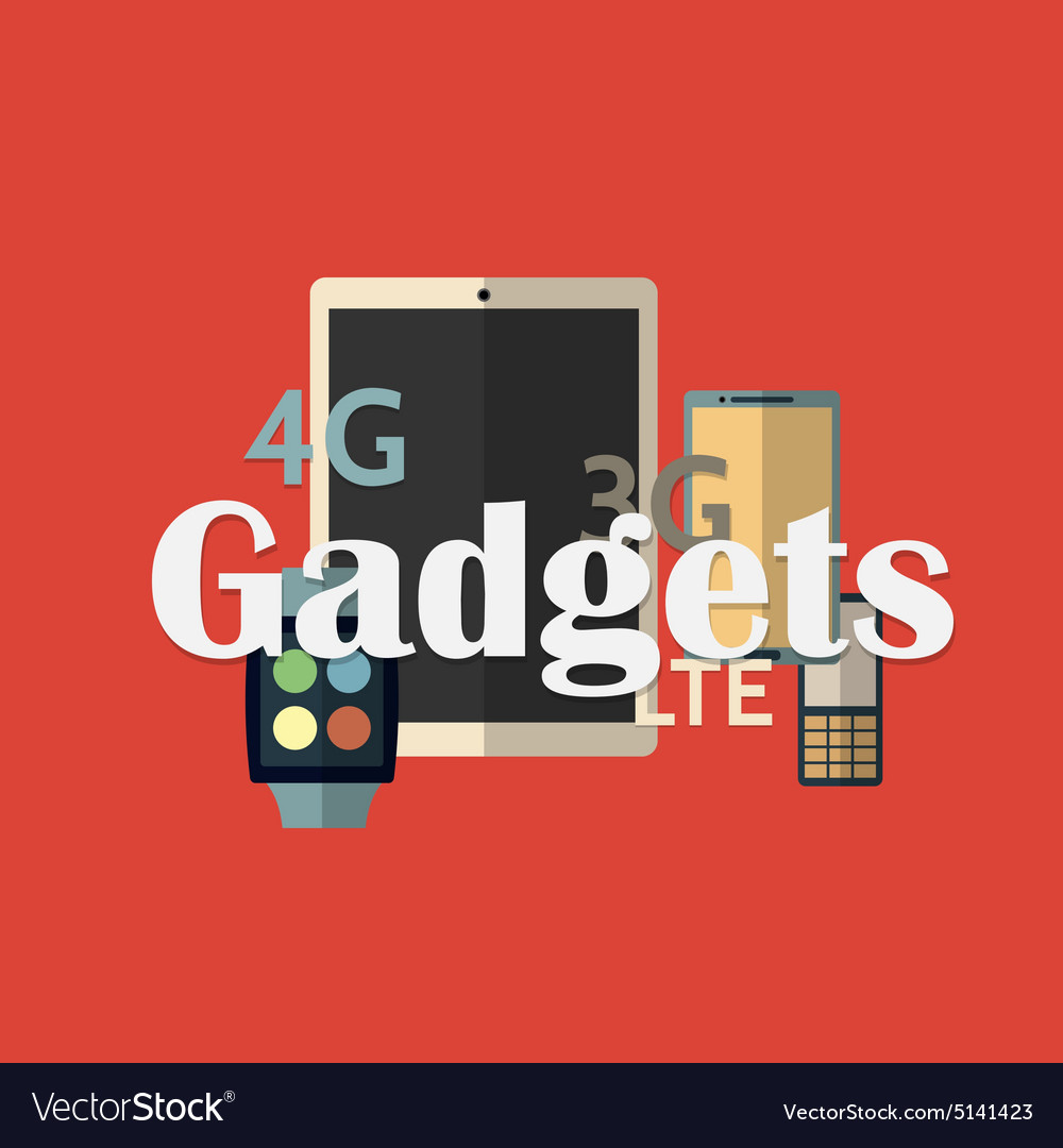 Gadget icons flat style vector