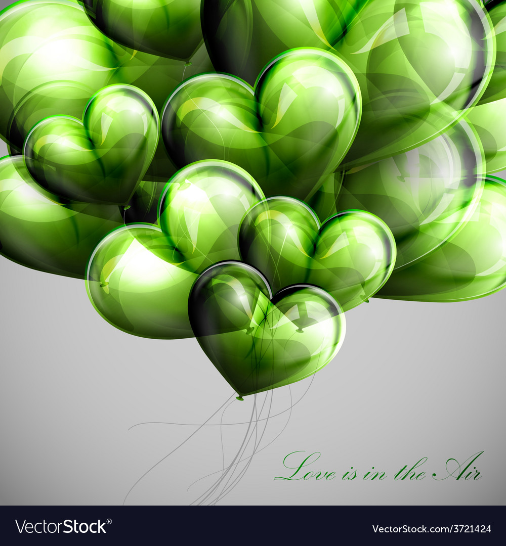 Bunch of green balloon hearts vector
