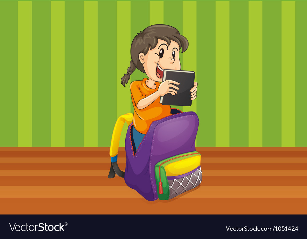 Girl with book in a bag vector