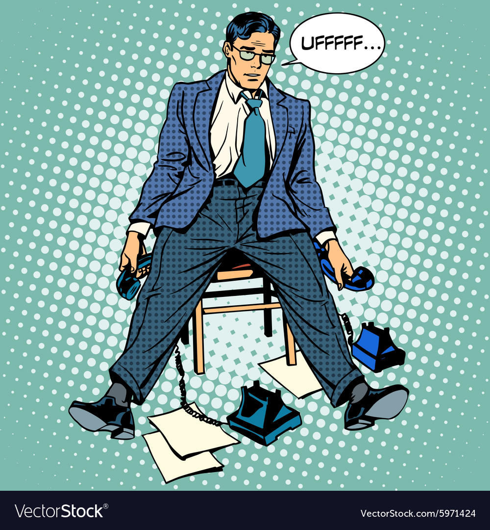 Tired businessman working stress vector
