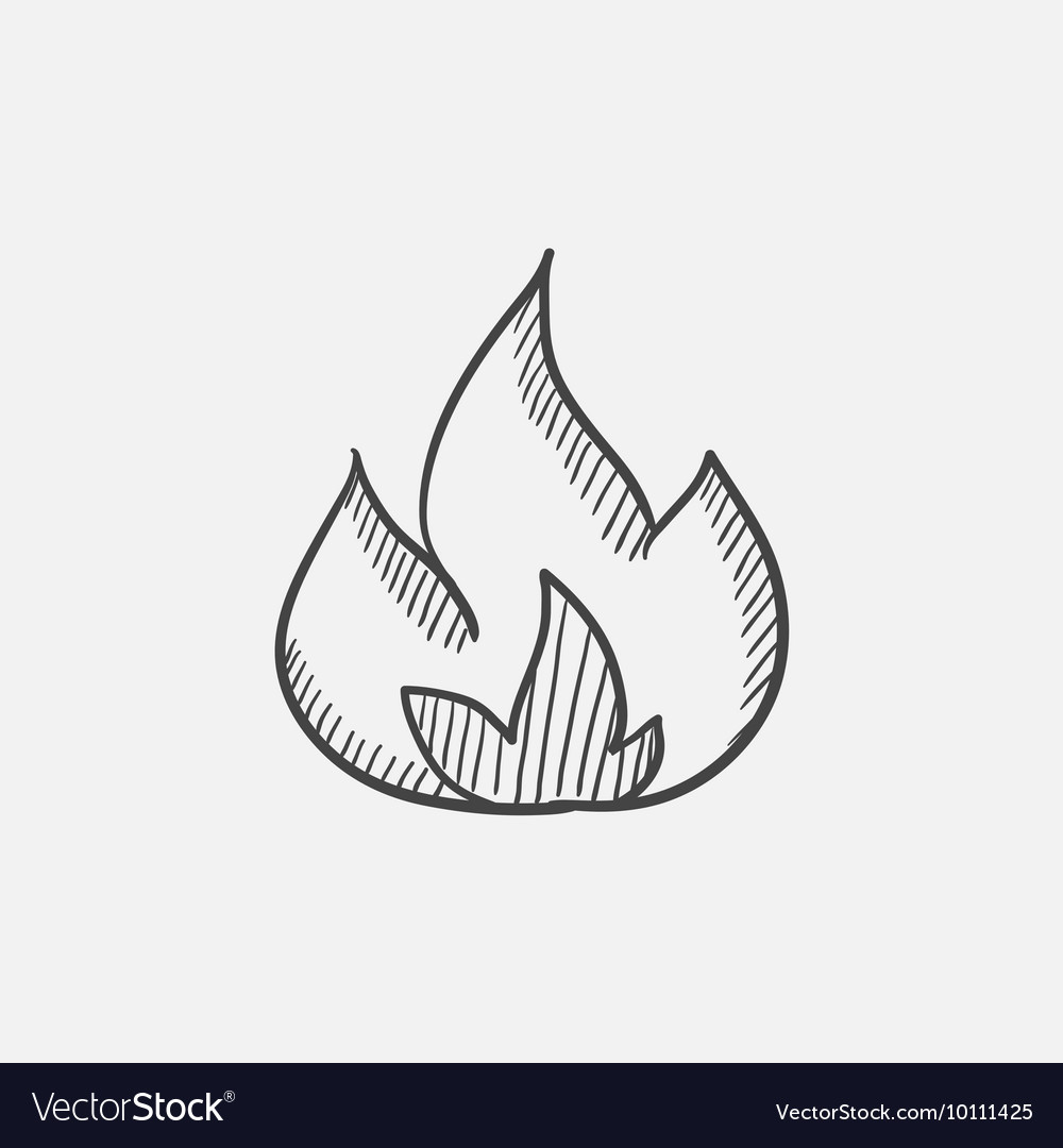 Fire sketch icon vector