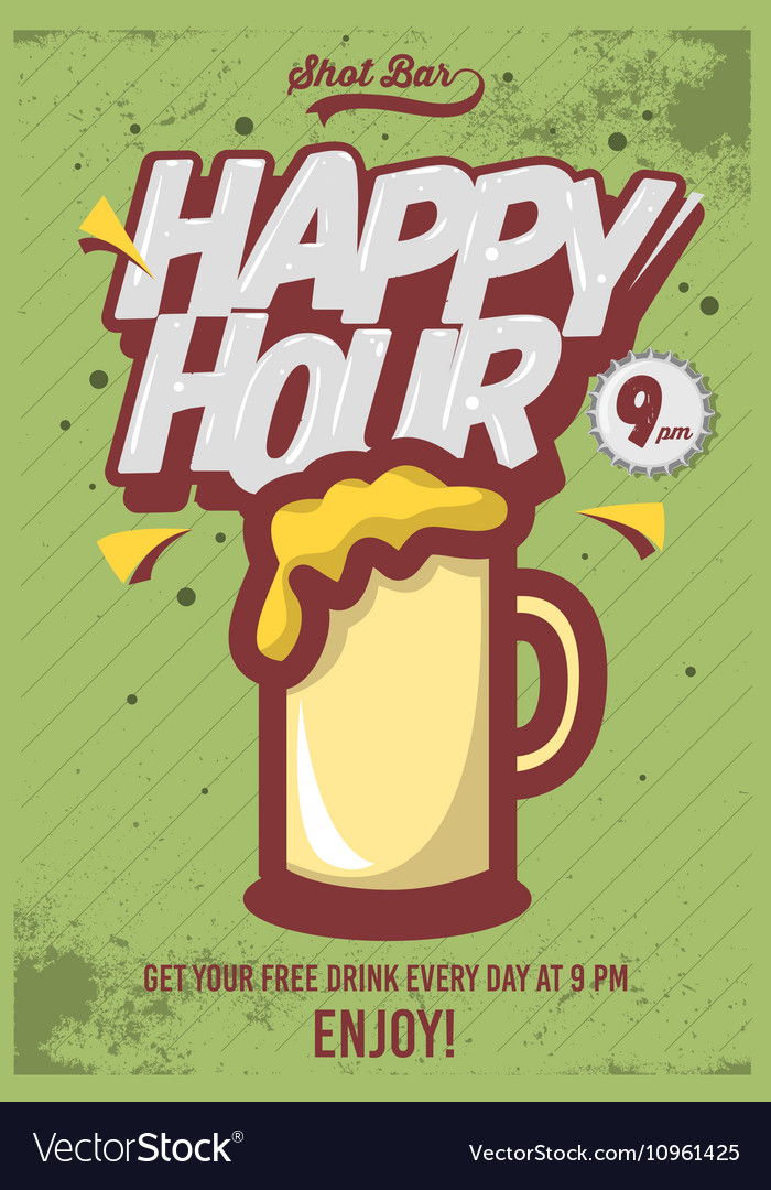 Happy hour poster for advertising beer mug vector