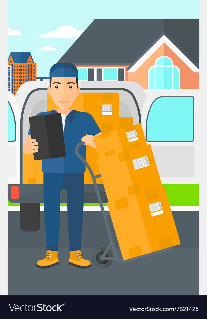 Man delivering boxes vector