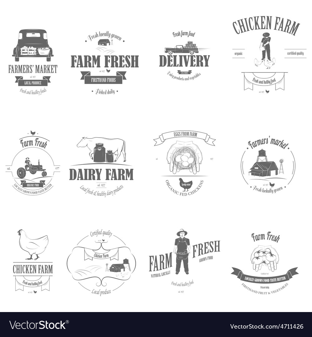 Farm fresh products badge set vector
