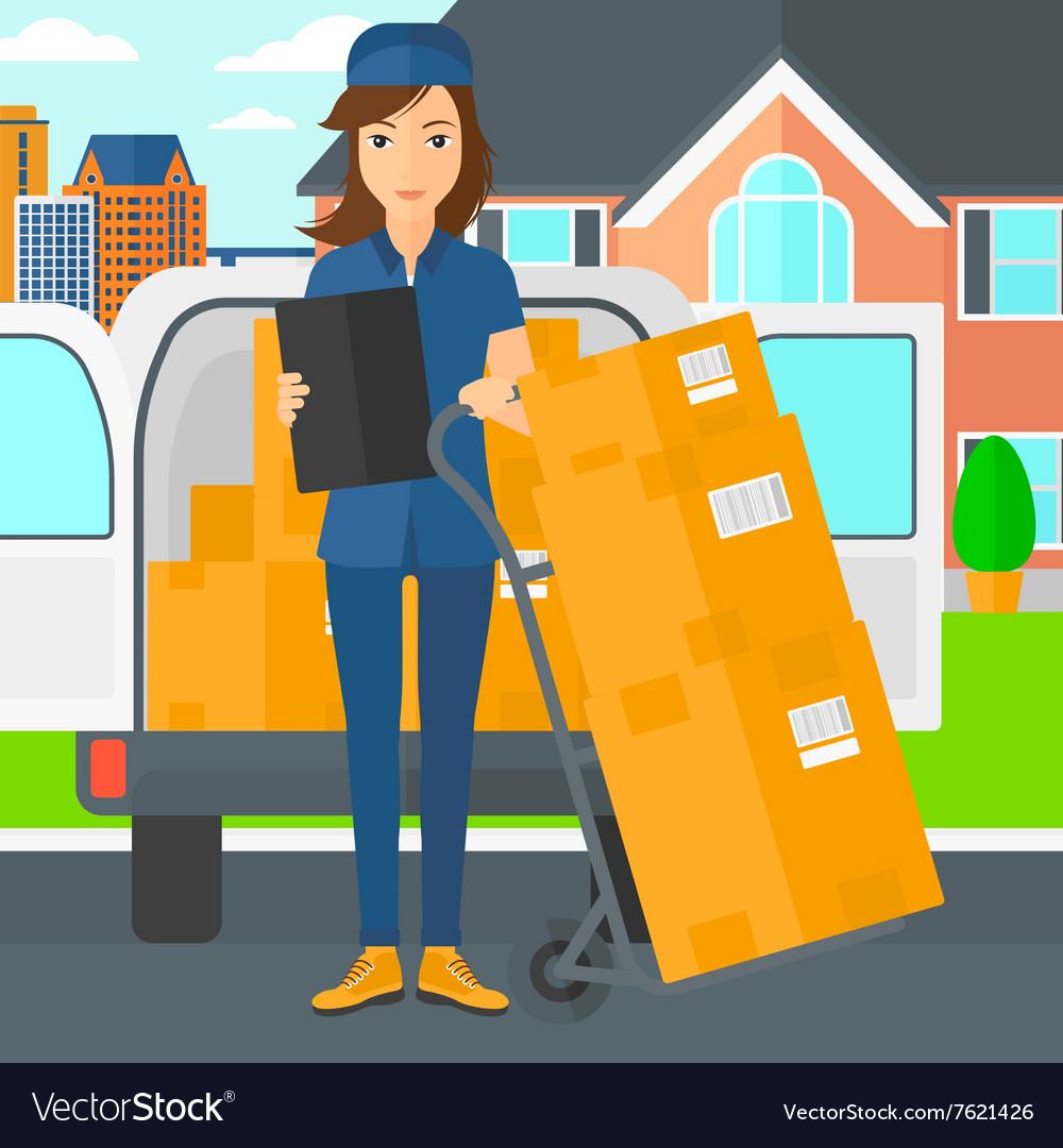 Woman delivering boxes vector