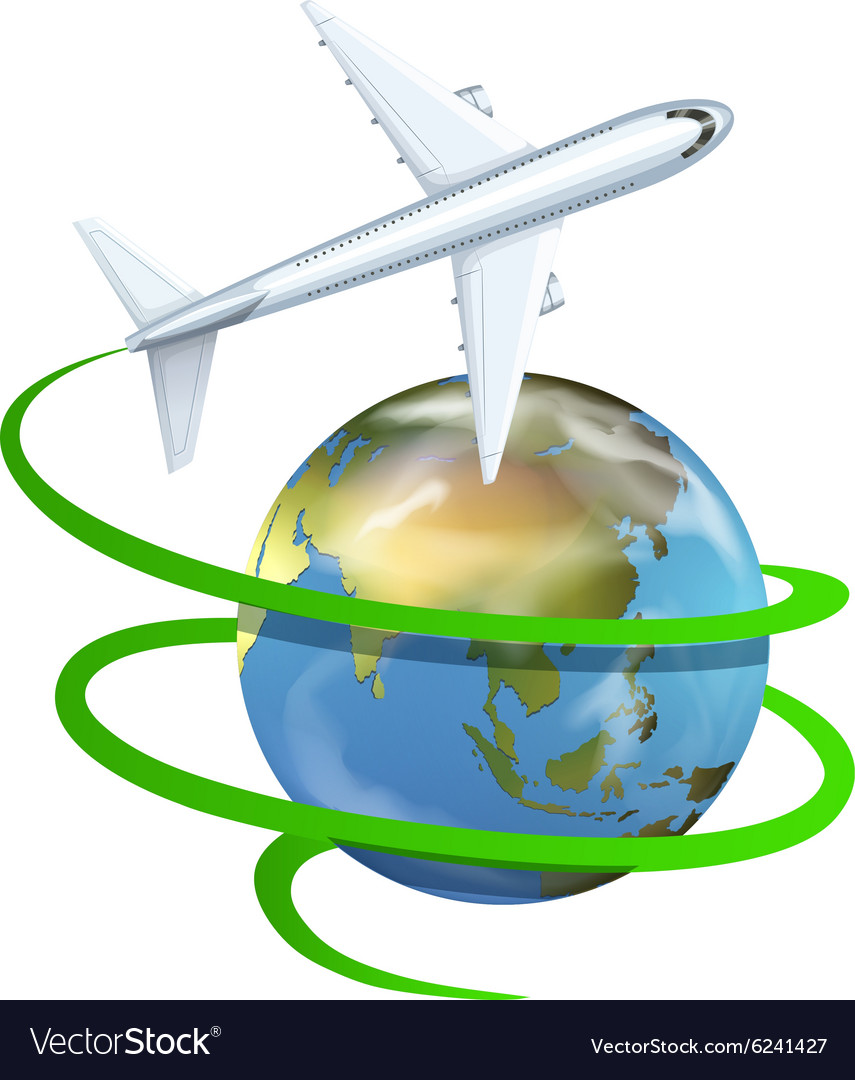 Airplane flying around the earth vector