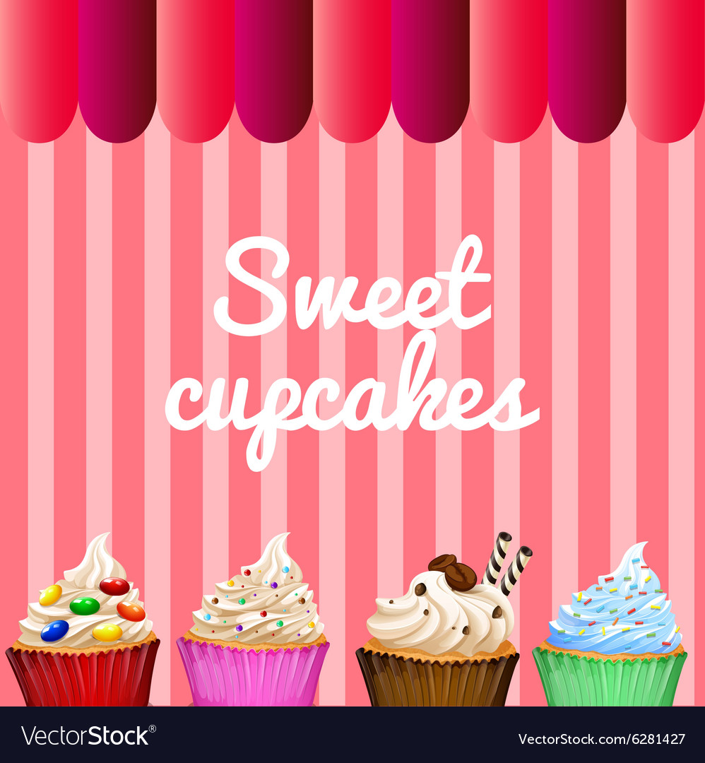 Banner design with sweet cupcakes vector