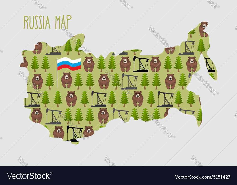 Russia map with minerals and flora an oil rig and vector