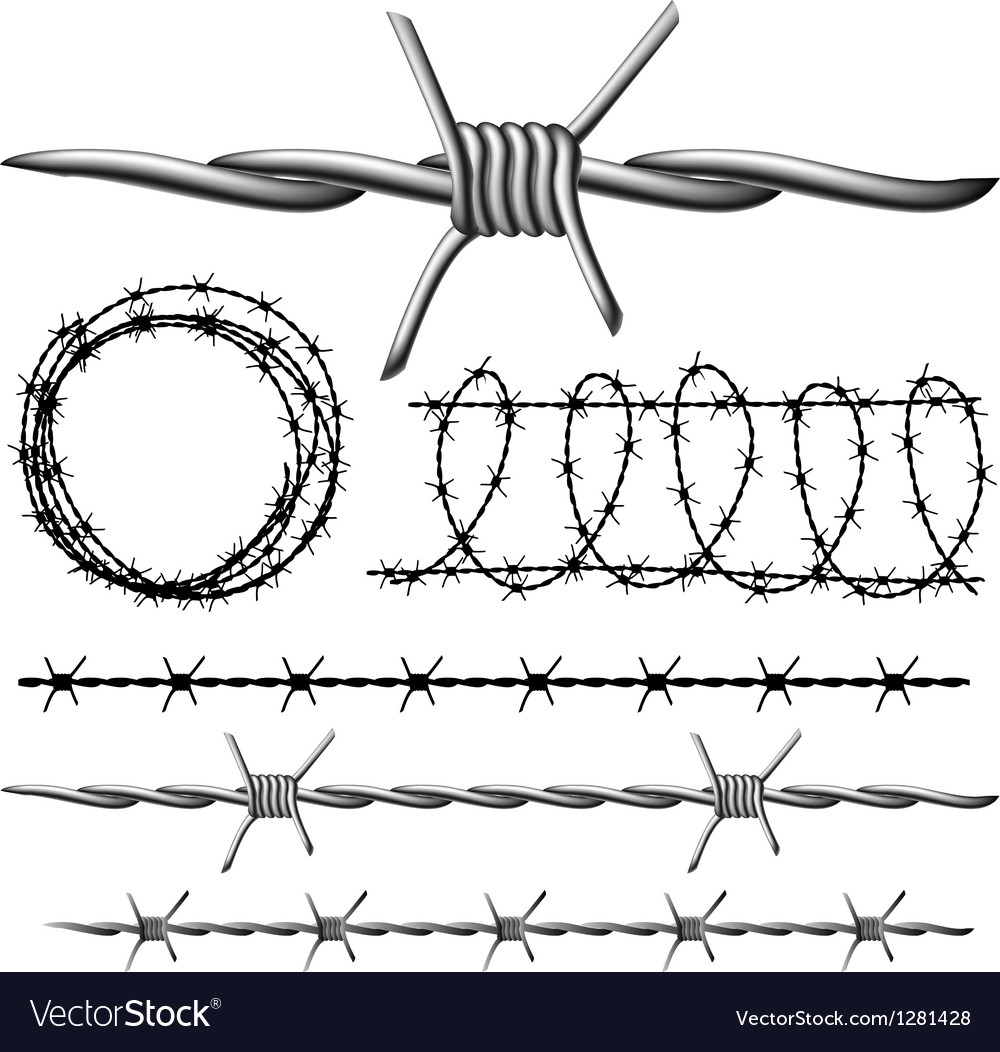 Barbed wire set vector