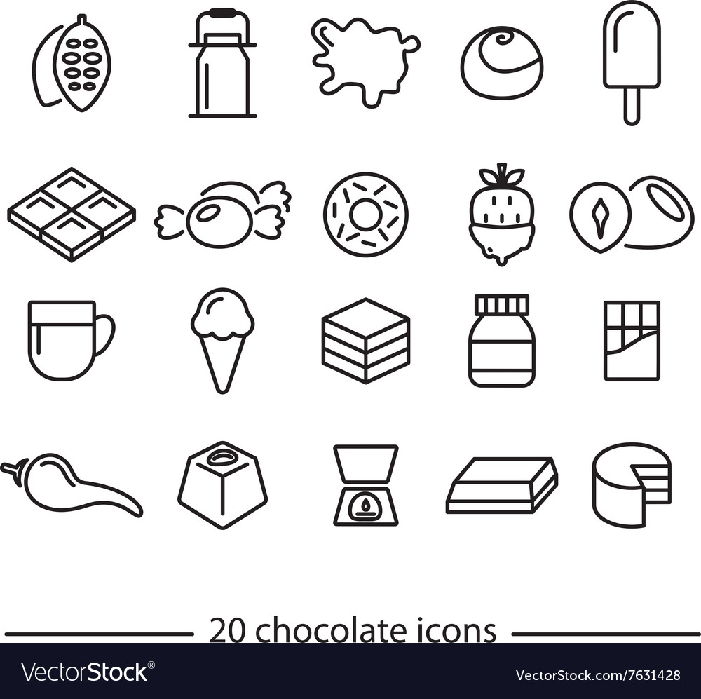 Chocolate line icons vector