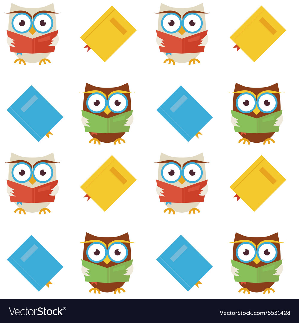 Flat seamless pattern wisdom and knowledge owls vector