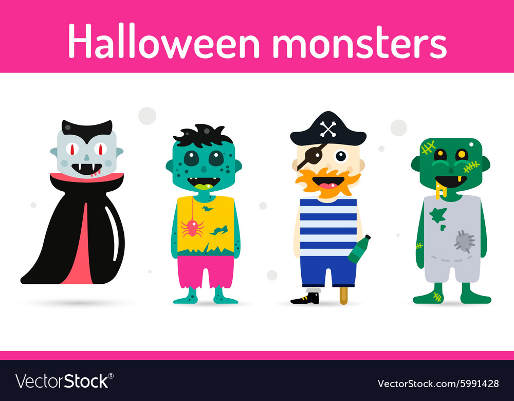 Monster cartoon characters isolated silhouette vector