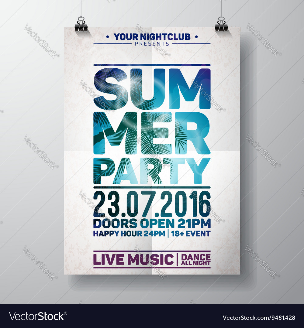 Summer beach party flyer design with palm vector