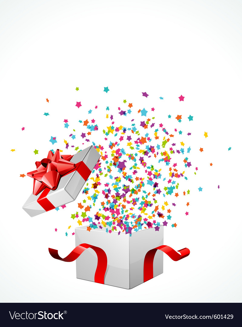 Surprise present box vector