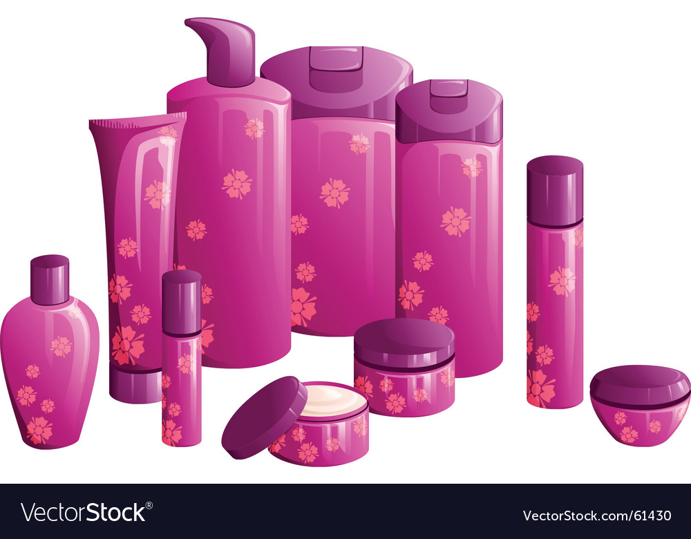 Beauty products with pink flower vector
