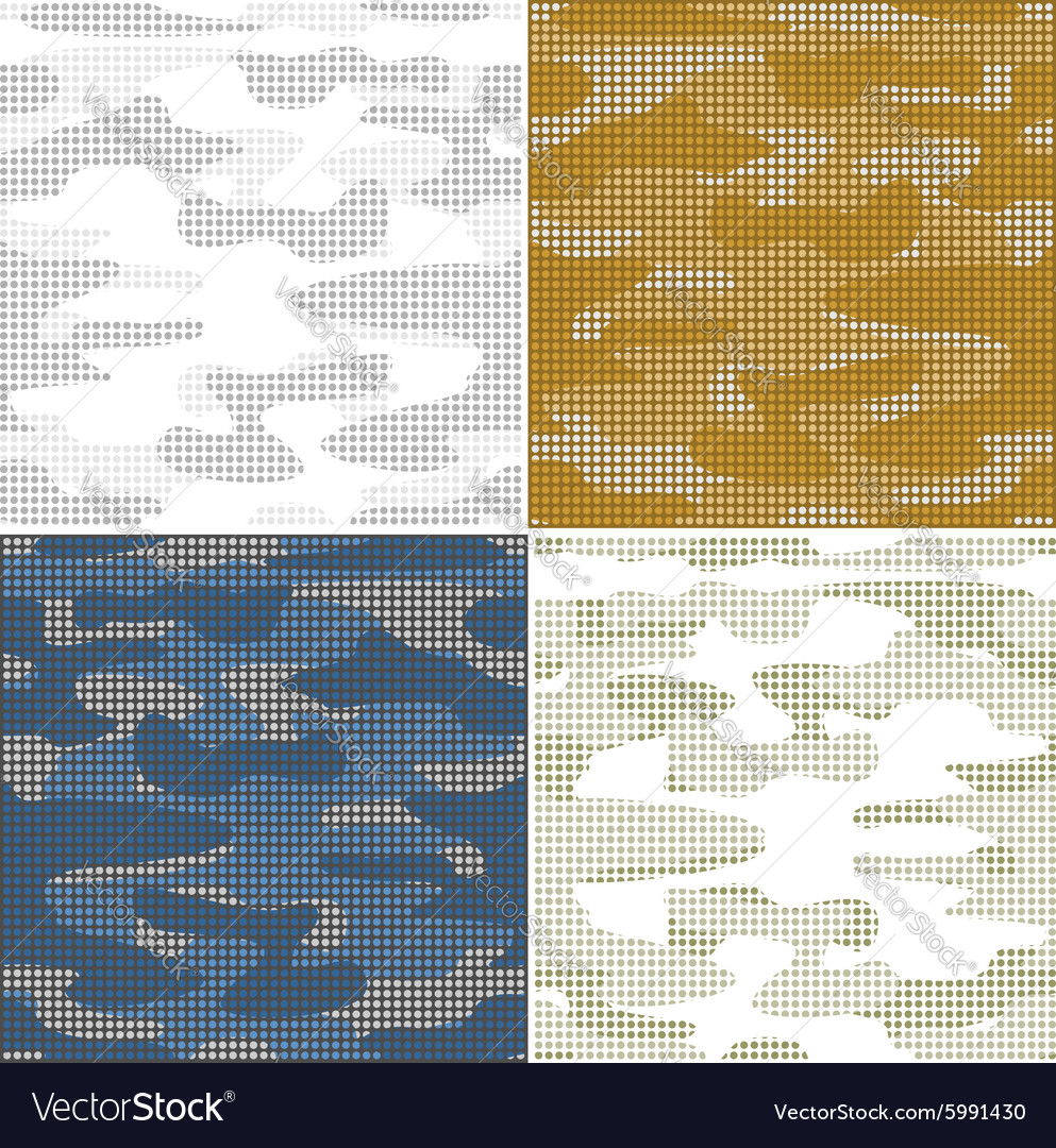 Digital camouflage seamless patterns  set vector