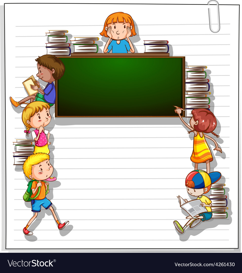 Frame with kids and a blackboard vector