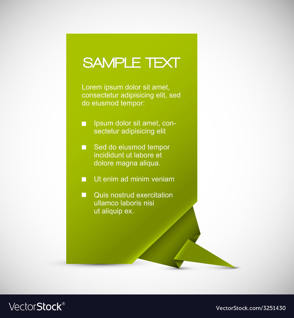 Green card with origami corner vector