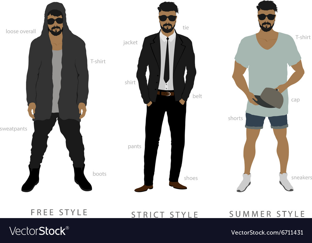 Clothing styles from classic to free people vector