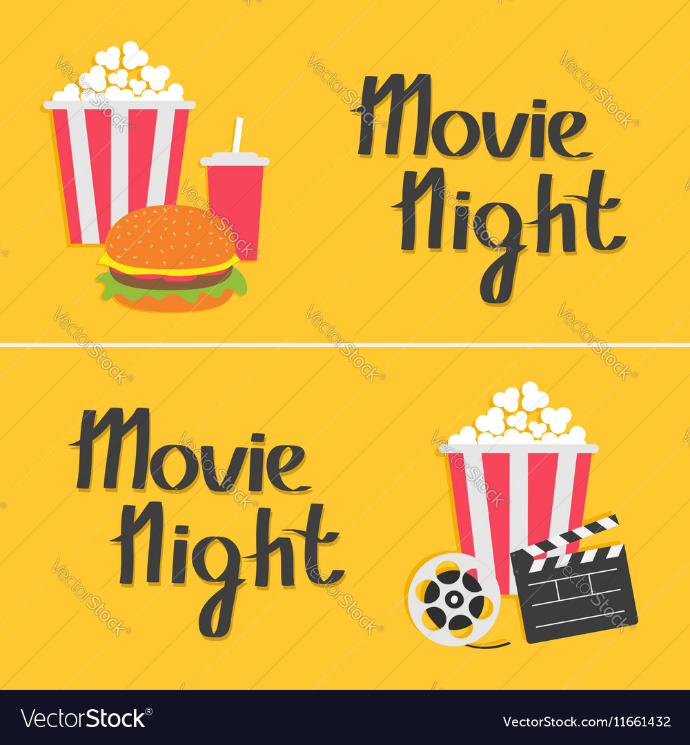 Banner set movie reel open clapper board popcorn vector