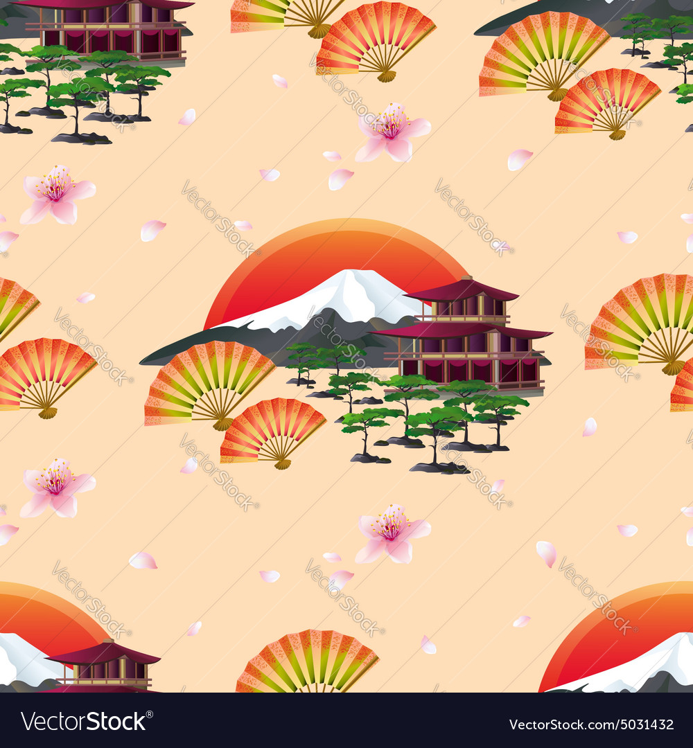 Japanese abstract background with fans and vector