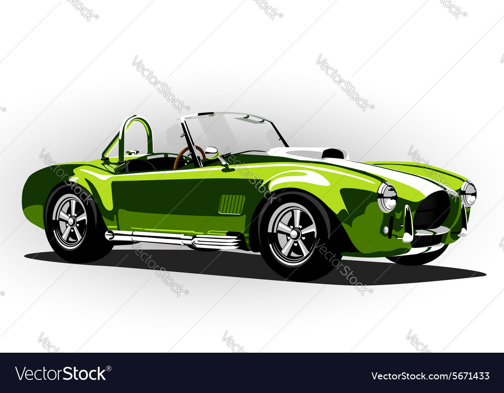 Classic sport car cobra roadster green vector