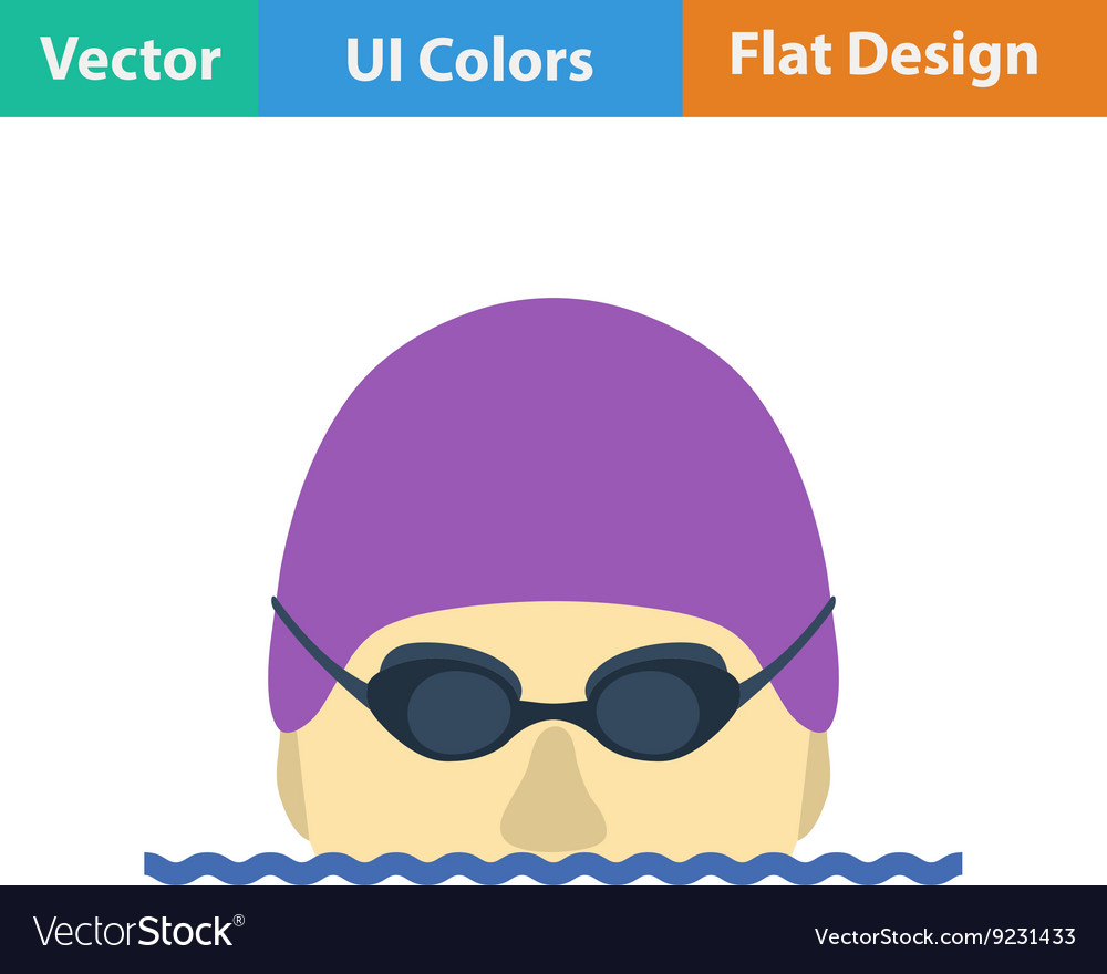 Flat design icon of swimming man vector