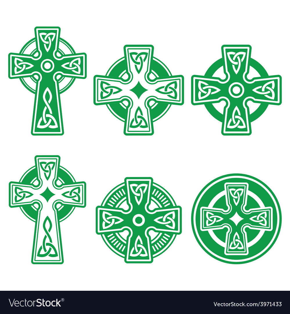 Irish scottish celtic green cross on white vector