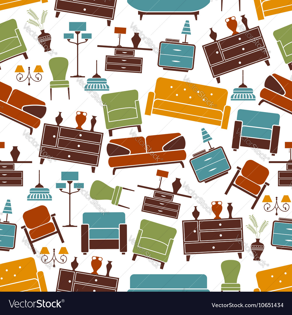 Interior furniture seamless pattern background vector