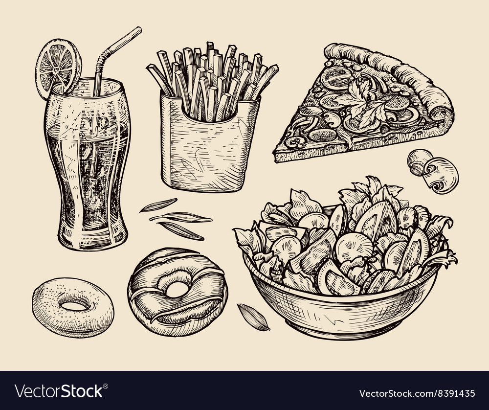 Fast food hand drawn soda lemonade fries slice vector