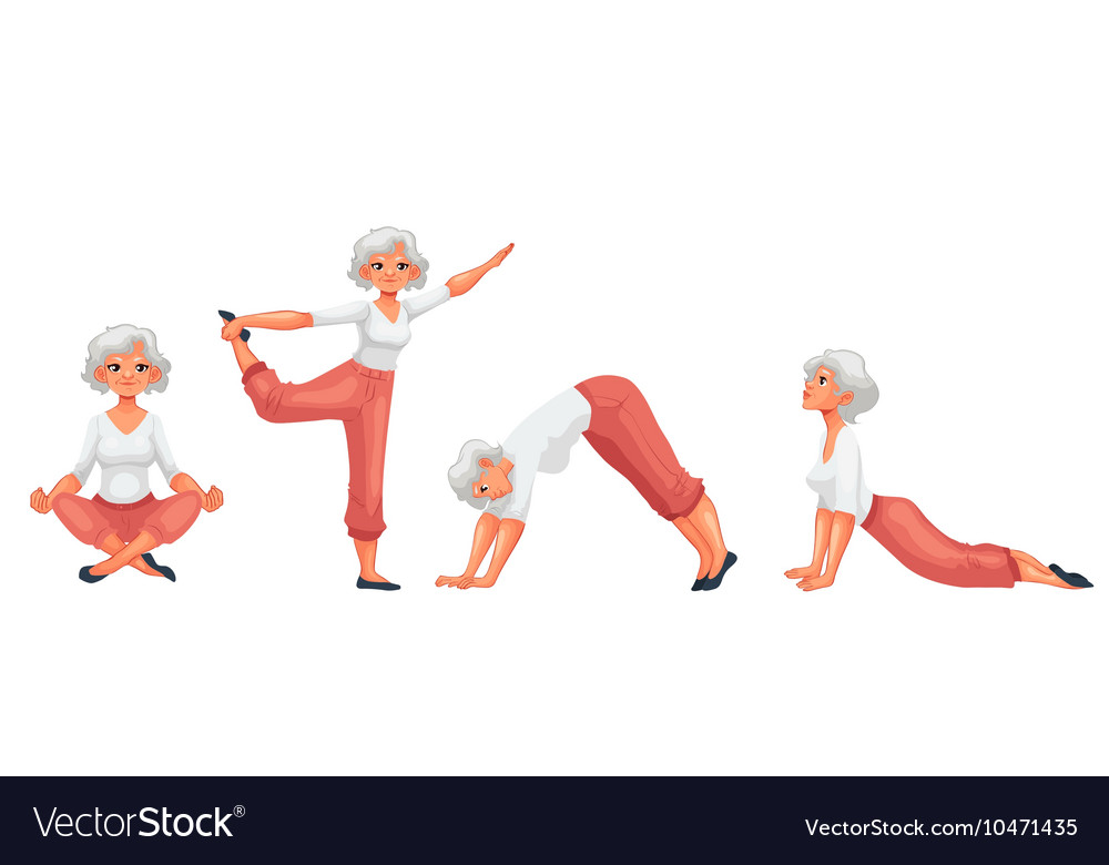 Set with beautiful senior woman in various poses vector